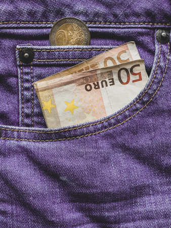 Close up of a 50 euro banknote in a Jeans pocket Reklamní fotografie