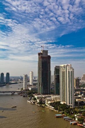 Aerial view of hotels by the Chao Praya river in Bangkok, Thailand