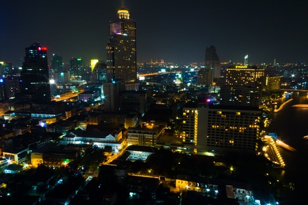 technoligy: City skyline at night. Bangkok Thailand.