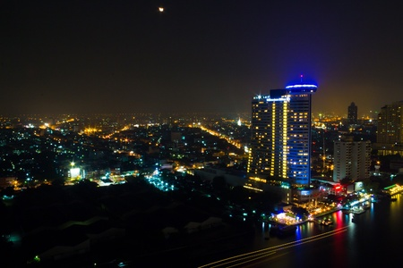 downtown top View at Night from top of Bangkok Stock Photo