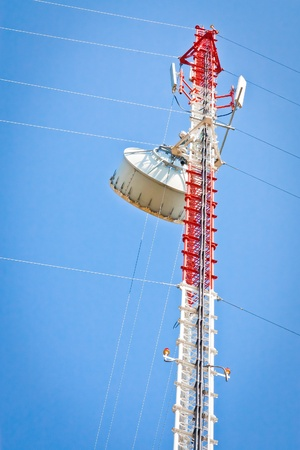 radio antenna tower on blue sky background