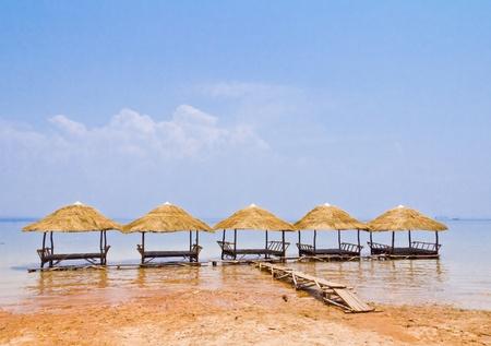 vista de Niza choza ex�tica en la Laguna Foto de archivo