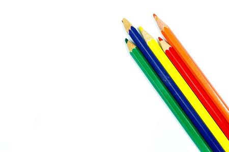 L?pices de color aislados sobre fondo blanco Foto de archivo