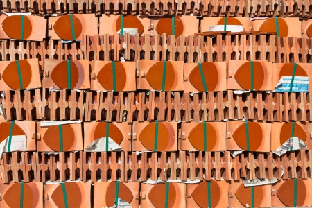 Pile of roofing tiles packaged