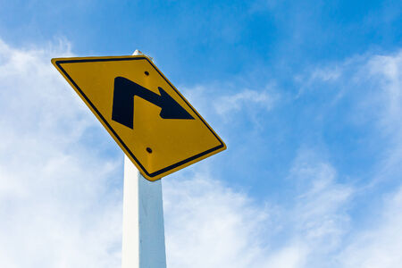 traffic sign turn right with sky