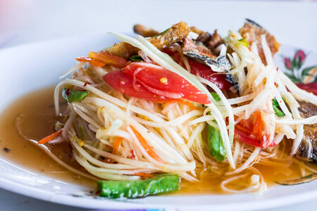 Papaya salad at a food stand Stock Photo