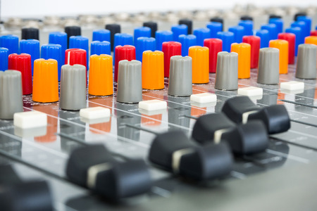 dubbing: Sound Board In Studio - Stock Image Stock Photo