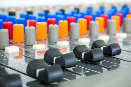 Close-up of Sound Board In Studio