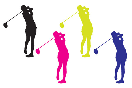 Lady Golfer Stock Illustratie