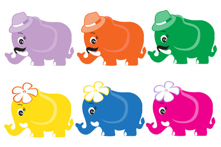 Cute Cartoon Elephants Vector