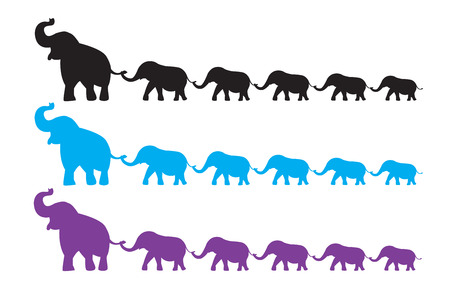 Elephant Family walk Vector