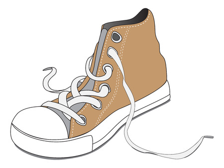 one brown shoe