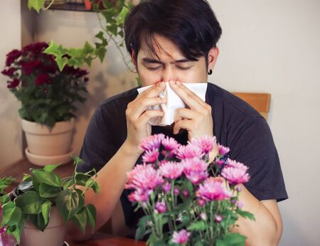 Asian man  with allergy sitting at wooden table with flowers in flower pot,   holding facial tissue and sneezing. Standard-Bild