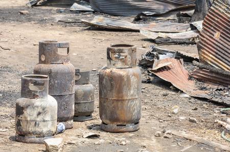 liquefied: Burnt LPG gas cylinder insurance matters damage dangerous.