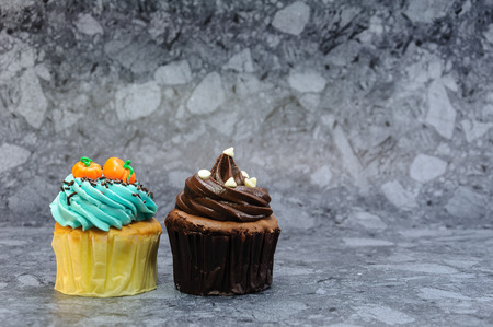 Two cute cupcakes on gray background.