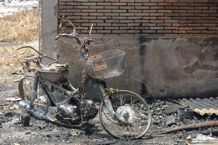 Burnt motocycle or Insurance matters can use as background. Stock Photo