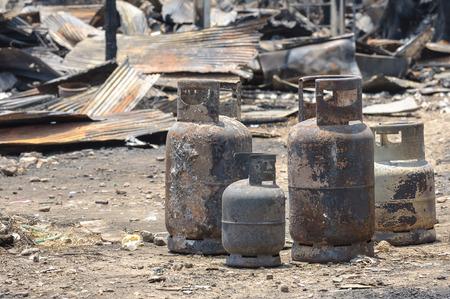butane: Burnt LPG gas cylinder insurance matters damage dangerous.