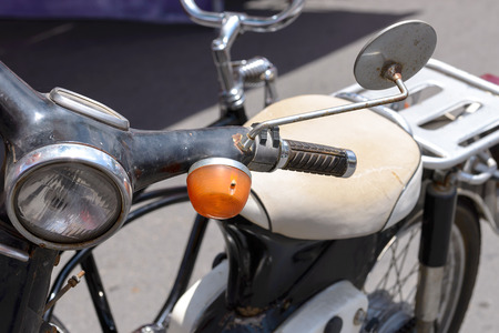 Detail of Vintage style Japanese motorcycle. Stock Photo