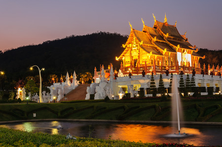 Traditional thai architecture in the Lanna style , Royal Pavilion (Ho Kum Luang) at Royal Flora Expo, Chiang Mai, Thailand Editorial