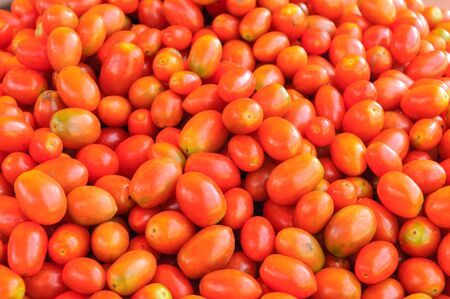 Close up group of fresh cherry tomatoes.