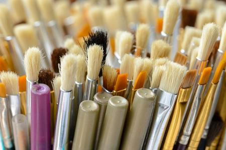 Close up hair of paintbrush shallow focus. Stock Photo