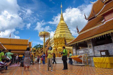 CHIANG MAI, THAILAND-June 9 : Many Tourists visit stupa of Wat Phra That Doi Suthep , 2015, Chiang Mai, Thailand.