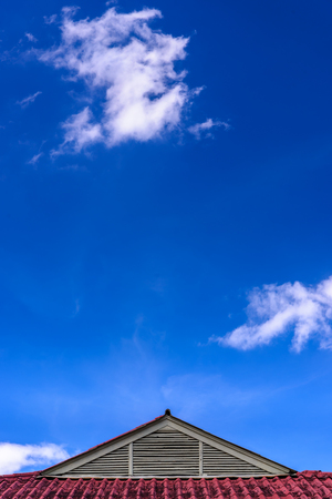 Roof of house under the clear blue sky.
