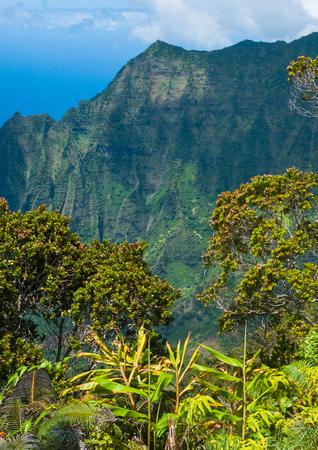 Na Pali Coastline at Kalalau Lookout, Kauai, Hawaii Stock Photo