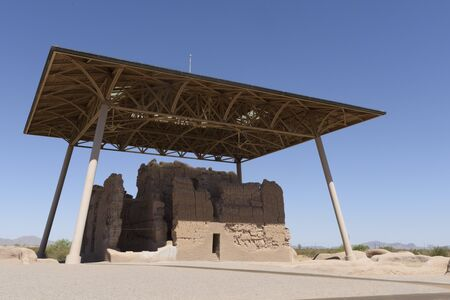 Ancient structure built by Native Americans under a protective roof at Casa Grande Ruins National Monument, Coolidge, AZ