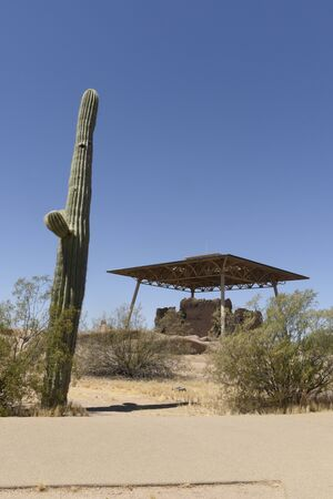 Ancient structure building under a protective roof at Casa Grande Ruins National Monument, Coolidge, AZ