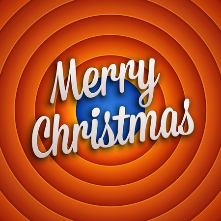 hollywood christmas: Movie ending screen with Merry Christmas label. Vector