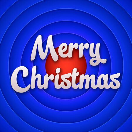 Movie ending screen with Merry Christmas label. Vector Vector