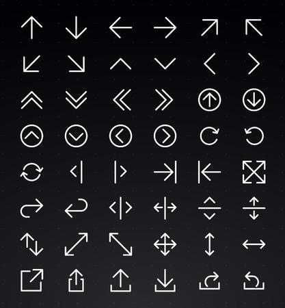 flecha derecha: Línea Arrow icon set   Vector Vectores