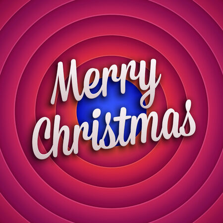 Movie ending screen with Merry Christmas label. Vector