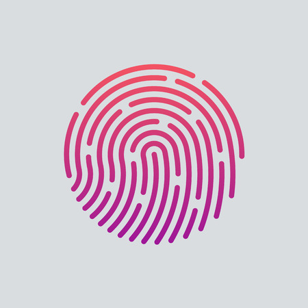 ID app icon. Fingerprint vector illustration Çizim