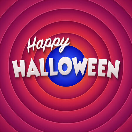 movie screen: Movie ending screen with Happy Halloween label. Vector Illustration