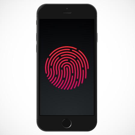 Smart Phone with ID Fingerprint icon. Vector illustration Vector