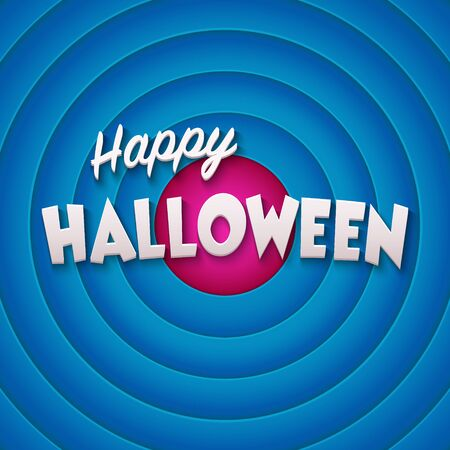 30s: Movie ending screen with Happy Halloween label. Vector Illustration