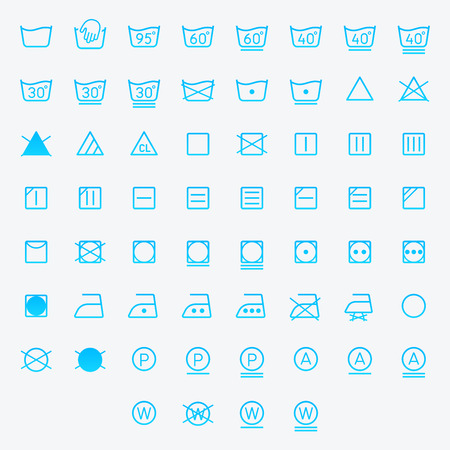 Icon set of laundry, washing symbols isolated on white background. Vector illustration