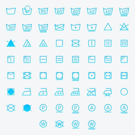 Icon set of laundry, washing symbols isolated on white background. Vector illustration