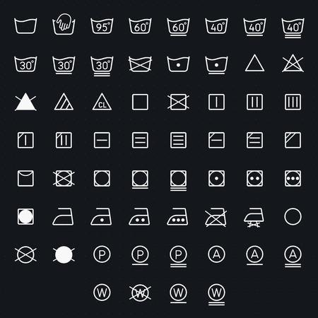 Icon set of laundry, washing symbols isolated on white background. Vector illustration Vector