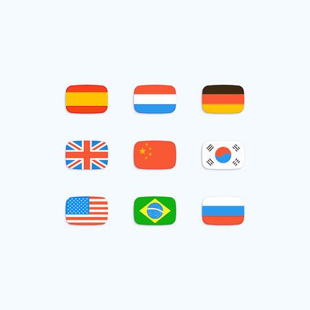 Vlag van de wereld. vector pictogrammen Stock Illustratie