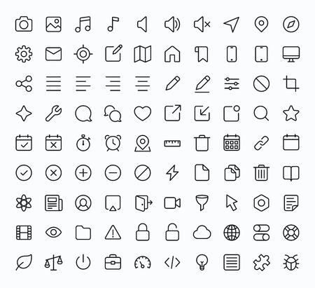 Skizzieren Sie Vektor-Icons für Web und Mobile. Thin 2 Pixeltakt & 60x60 Auflösung