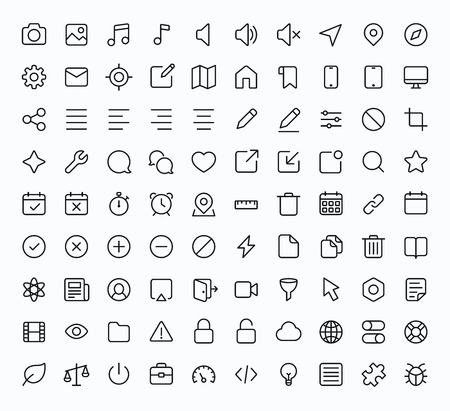 Outline vector icons for web and mobile. Thin 2 pixel stroke & 60x60 resolution