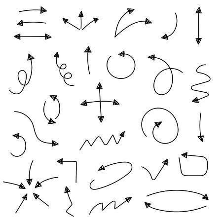스케치 화살표 설정합니다. 비즈니스 및 교육 디자인을위한 벡터 일러스트 레이 션. 디자인 요소입니다. 쉽게 편집 할 수 있습니다. 일러스트