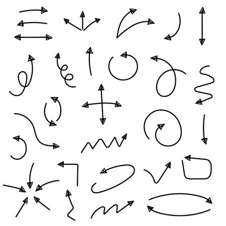 스케치 화살표 설정합니다. 비즈니스 및 교육 디자인을위한 벡터 일러스트 레이 션. 디자인에 대 한 요소. 쉽게 편집 할 수 있습니다.