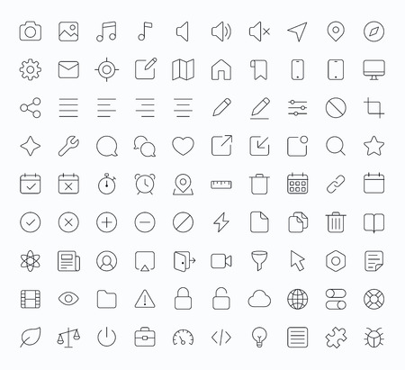 Outline vector icons for web and mobile. Thin 1 pixel stroke & 60x60 resolution