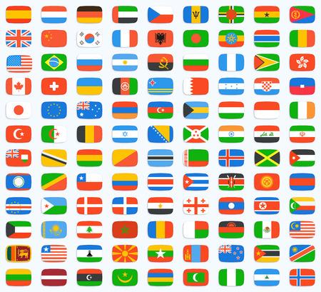 Flagge der Welt. Vektor-Icons gesetzt Standard-Bild - 39029770