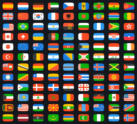Flag of world. Vector icons set