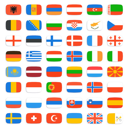 kingdom of spain: Flags of Europe, complete set. Vector icons